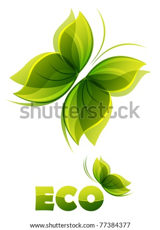 Eco logo - two  green butterflies - stock vector