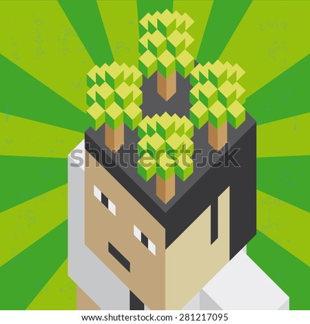 Eco mind Illustration of the concept of a head with ecological thinking, in isometric old video game style. The grunge texture is removable from the background. - stock vector