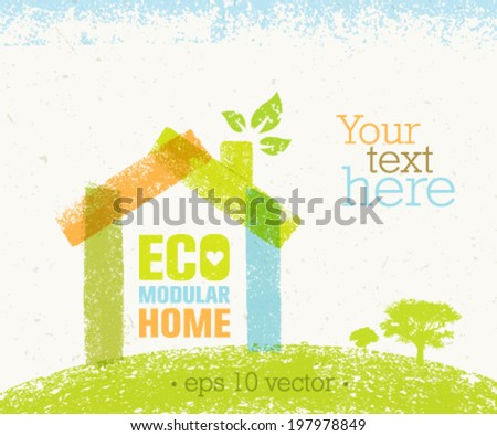 Eco Modular Home Nature Friendly Vector Concept on Recycled Paper Background - stock vector