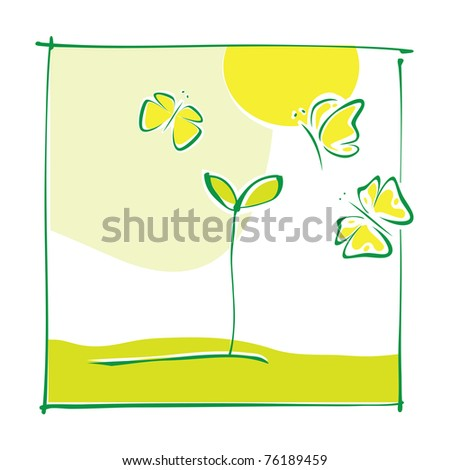 Eco motive - green little plant and butterflies (simple calligraphic drawing, vector) - stock vector