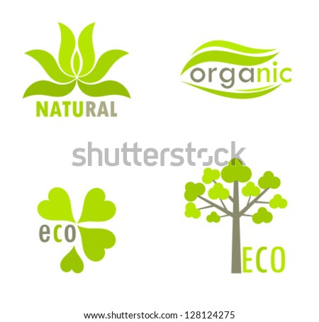 Eco, natural and organic symbols or logos - tree and leaves environmental icons. Vector illustration - stock vector
