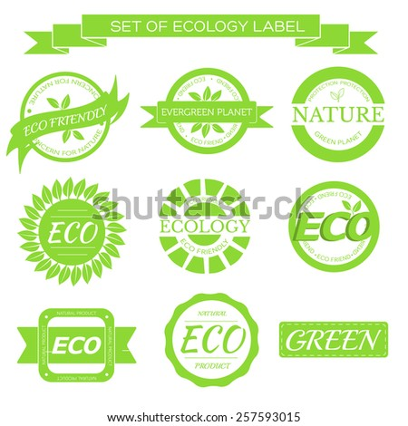 eco, nature, organic green label on isoleted white background concept. Vector illustration for colorful template for you design, web and mobile applications