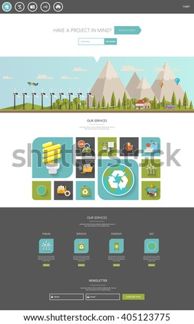 Eco One Page Website Template Vector Eps10, Modern Web Design with flat UI elements and eco landscape illustration. Ideal for Business layout