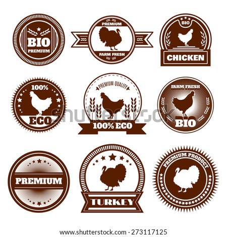Eco organic farm free range chicken turkey premium quality production emblems icons set abstract isolated vector illustration - stock vector