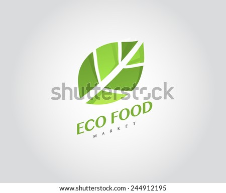 Eco Organic Health Food Market Logo Template Products Vector Green Icon - stock vector