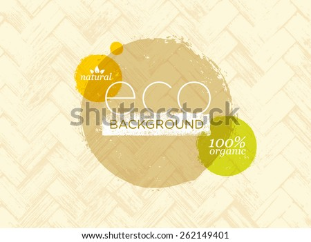 Eco Organic Vector Banner On Natural Palm Leaf Mat Texture Background  - stock vector