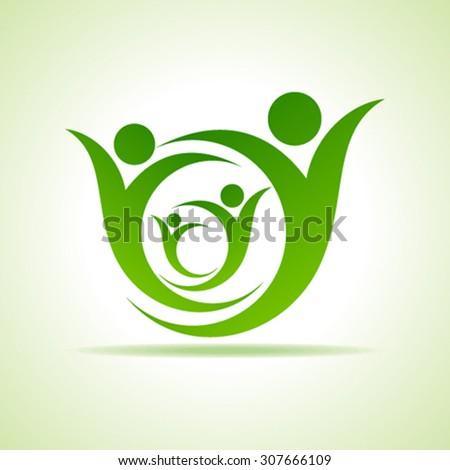Eco people celebration icon design vector - stock vector