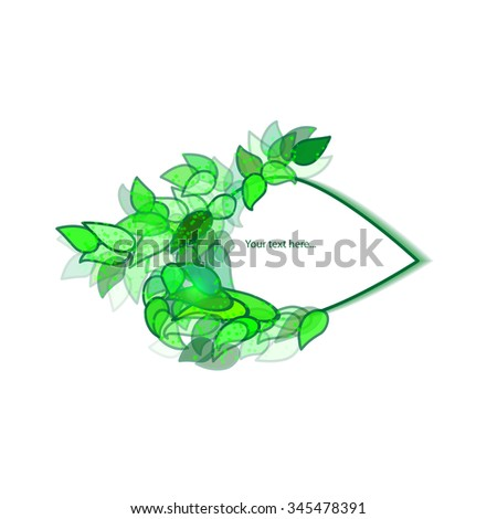 eco petal banner for your text with green leaves - stock vector
