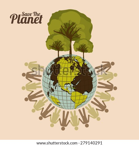 Eco Planet design over pastel pink background, vector illustration