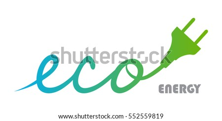 Eco Plug logo with blue gradient green. Energy