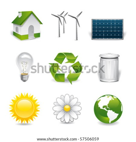 eco premium icons - stock vector