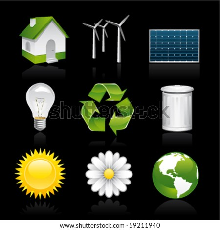 eco premium icons on black - stock vector