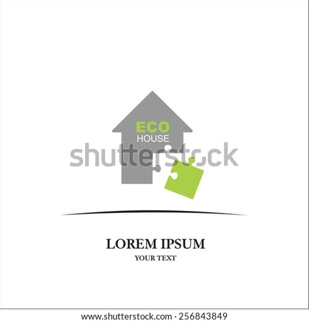 Eco puzzle house - stock vector