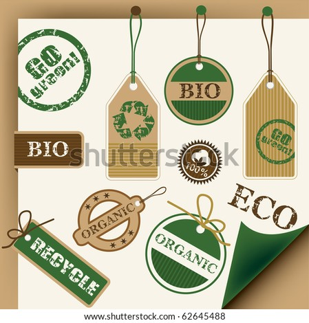 Eco, recycle and bio tags and stamps, vector - stock vector