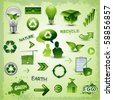 Eco recycle environment icons - stock photo