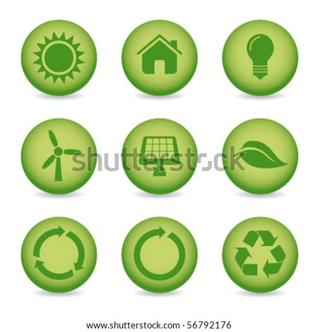 eco recycle icons - stock vector