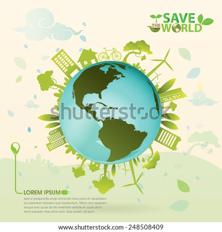 Eco save the world - stock vector
