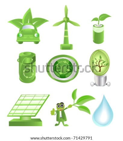 eco set - stock vector
