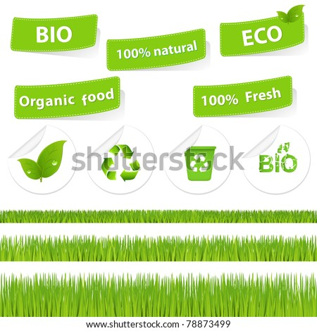 Eco Set With Grass, Isolated On White Background, Vector Illustration - stock vector