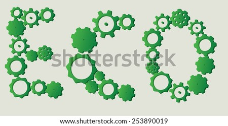 ECO sign made from three dimensional cogs with different models and sizes - stock vector