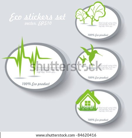 Eco sticker collection - stock vector