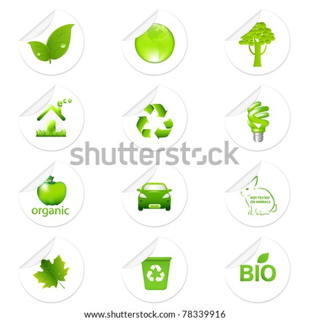 Eco Sticker Set, Isolated On White Background, Vector Illustration