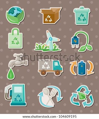 eco stickers - stock vector