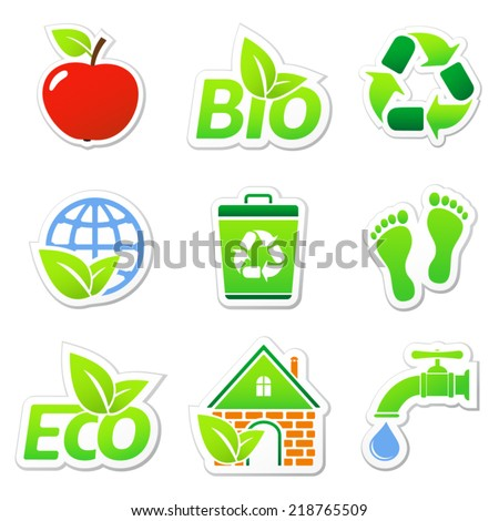 Eco stickers - stock vector