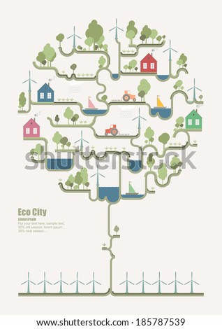 Eco structure ( tree infographic) - stock vector