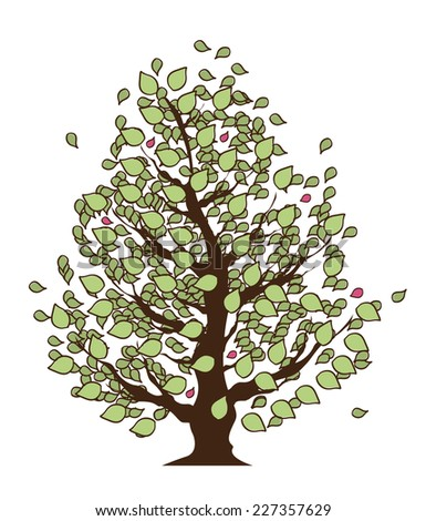 Eco Summer Tree with green leaves, Isolated On White Background, Vector Illustration - stock vector