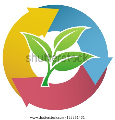 Eco symbol illustration with small trees. Vector - stock vector