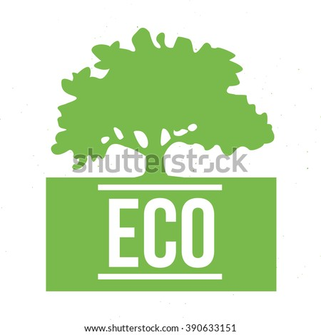 Eco symbol with green tree on white background - stock vector