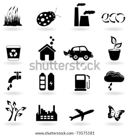 Eco symbols in icon set - stock vector