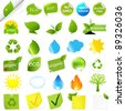 Eco Symbols Set, Isolated On White Background, Vector Illustration - stock vector