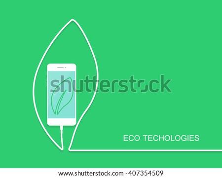 Eco technology. Phone leaf. Phone line. Phone wire. Phone usb. Phone vector. Phone illustration. Phone flat. Phone art. Phone image. Phone web. Phone background. Phone card. Phone screen. Phone flayer - stock vector