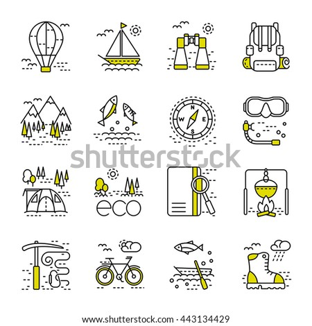 Eco tourism icons set on white background. Collection of modern line style design element. Vector illustration, can be used for web page, banner, info-graphics