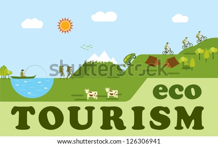 Eco tourism, think green - stock vector