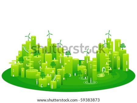 eco town - stock vector