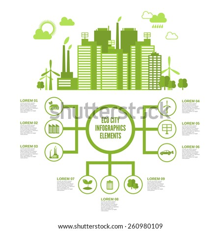 Eco town infographic set with green ecosystem elements and arrows vector illustration