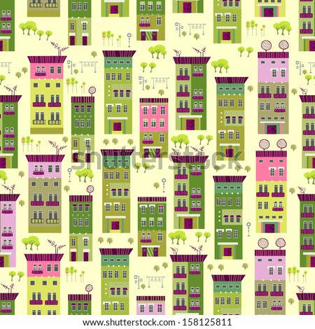 Eco town seamless pattern - stock vector