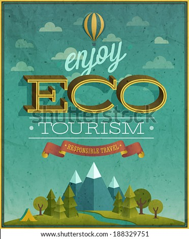 Eco Travel poster. Vector illustration. - stock vector