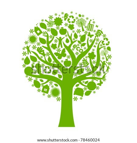 Eco Tree, Isolated On White Background, Vector Illustration - stock vector