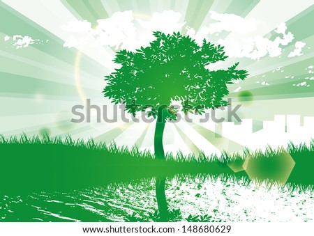eco tree water city green vector background