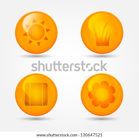Eco vector set of glossy icons - stock vector