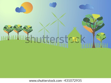 Eco village at sunset. Eco. Illustration. Vector.