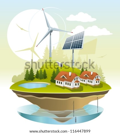 Eco village. Illustration of green energy for the house on a small plot of land. - stock vector