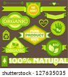 Eco vintage labels and stickers - stock vector