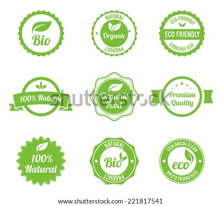 Eco Vintage Labels Bio template set. Ecology theme. Retro logo template design. Extra High quality. - stock vector
