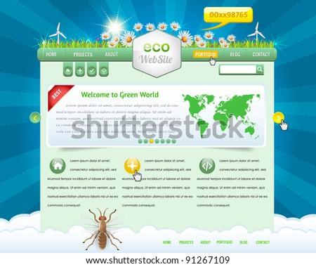 Eco Website Design Vector Elements - stock vector