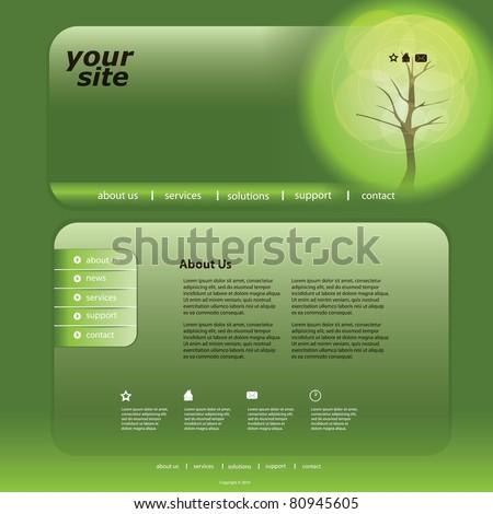 Eco Website Template - stock vector